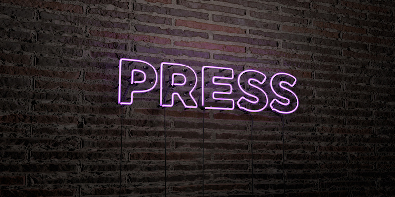 PRESS -Realistic Neon Sign on Brick Wall background - 3D rendered royalty free stock image. Can be used for online banner ads and direct mailers.